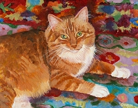 Custom cat portrait painting by Connie Bowen of Archie, a handsome orange tabby cat. Orange tabby cats have such unique personalities!