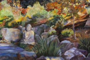 Original painting of Buddha in the garden