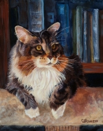 Clea was a beautiful long-haired cat. She crossed the Rainbow Bridge about a year before her gift memorial cat portrait was painted