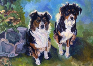 These are my two Australian shepherd dogs. They are the most wonderful dogs, and I love them dearly! Dog Painting by Connie Bowen