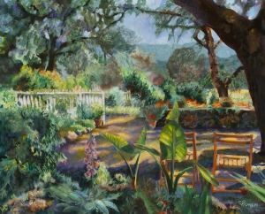 Original painting of winery at Sonoma California