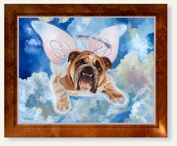 Dog painting by Connie Bowen of the bulldog Zelda Wisdom in her angel wings outfit