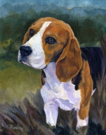 Dog Painting by Connie Bowen of Becks, a champion Beagle from Canada. Beagles can outsmart any fox!