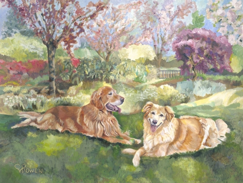 Custom dog portrait painting by Connie Bowen of Reggie and Megan, a golden retriever and mixed breed dog, at home in their garden. These dogs loved to romp in their own grassy field.