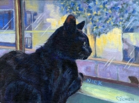 Custom cat portrait painting by Connie Bowen of black cat Nick who was a stray black cat who has been given a new life! I love the shine in black cats' fur!