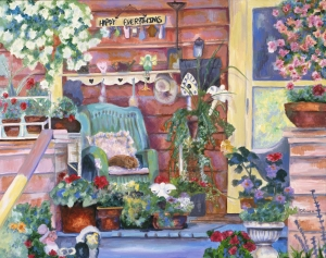 Original painting of porch in Lake Oswego