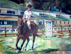 Equine horse painting by Connie Bowen of Maggie riding Zachariah at the Lake Oswego Hunt Club horse trials. The chestnut gelding Zachariah was a joy to behold!