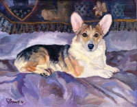 Dog Painting by Connie Bowen of Marcy, a sweet Corgi gal. Pembroke Corgis are fanciful and fun!